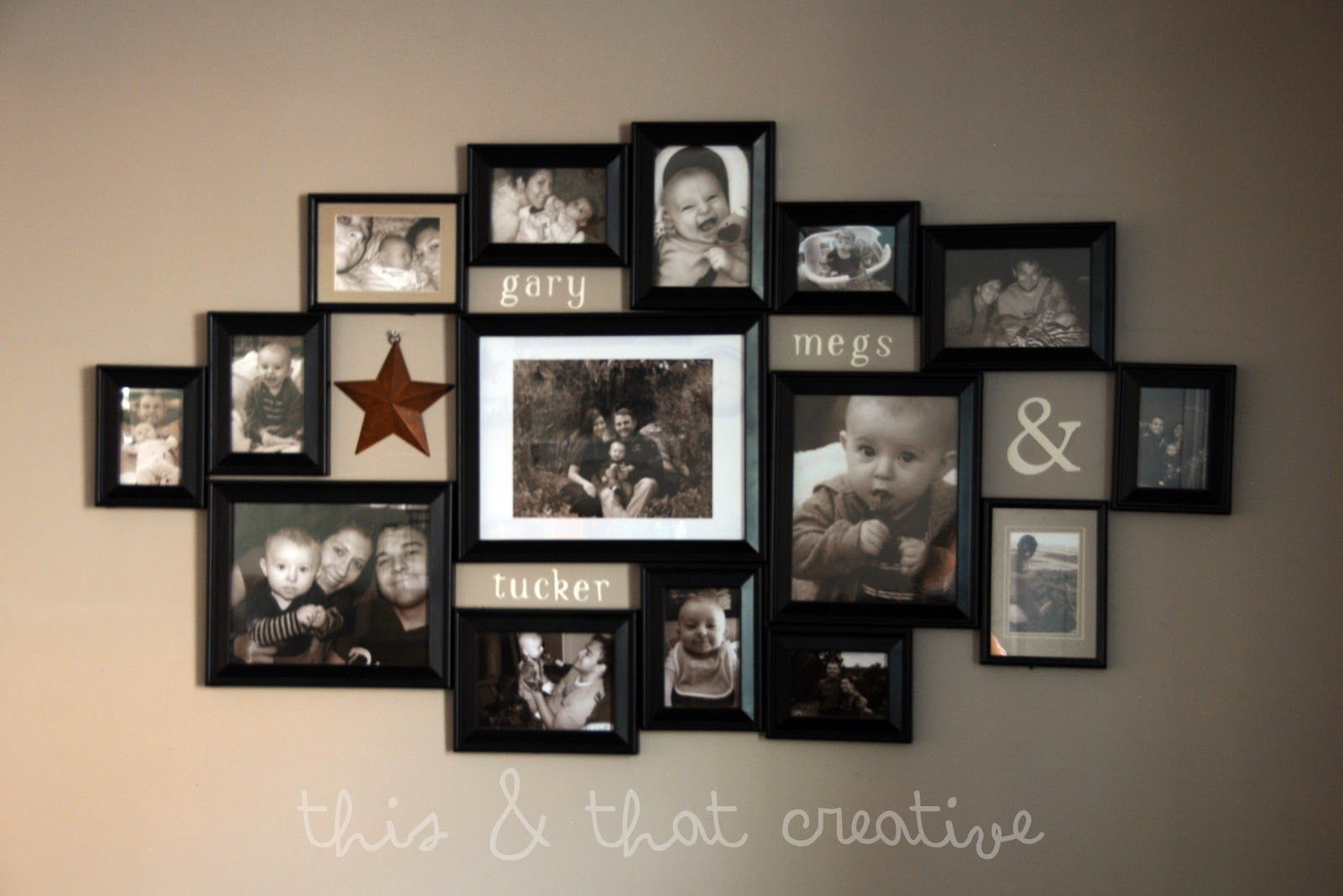 Picture frame ideas first i laid out all the frames on the hd photo frame collage ideas wallpaper is very worthy for you to planning your bed it will be great to fulfill your home decoration jeuxipadfo Images