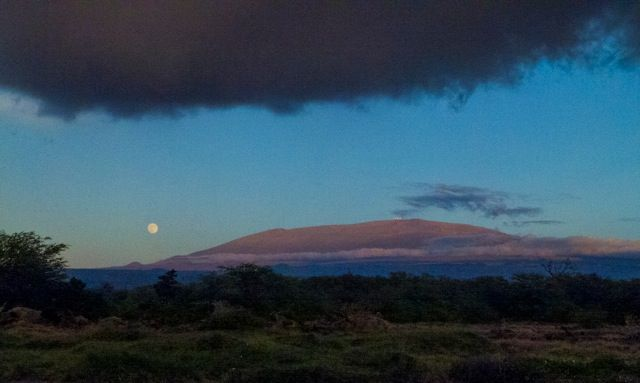 Gorgeous moonrise over Mauna Kea taken by friend George!
