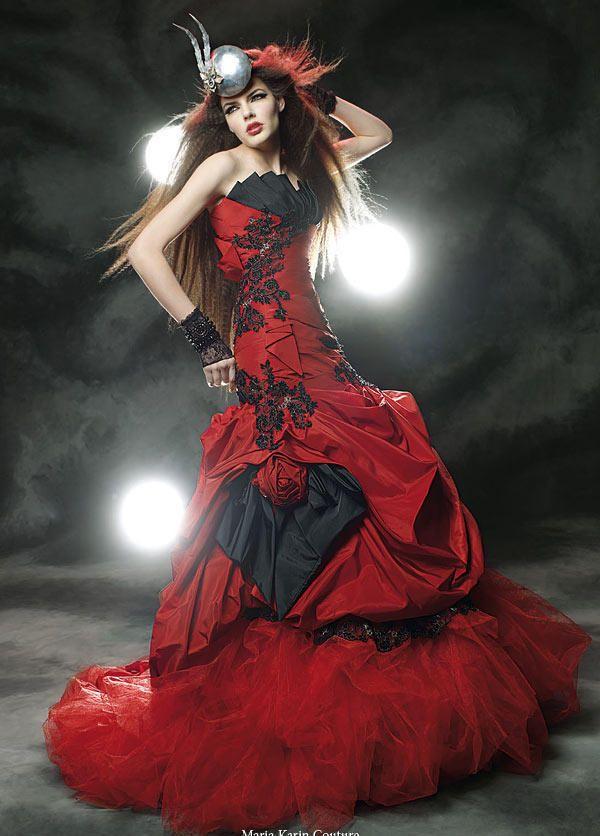 negro rojo góticos vestidos de novia trompeta de la sirena del