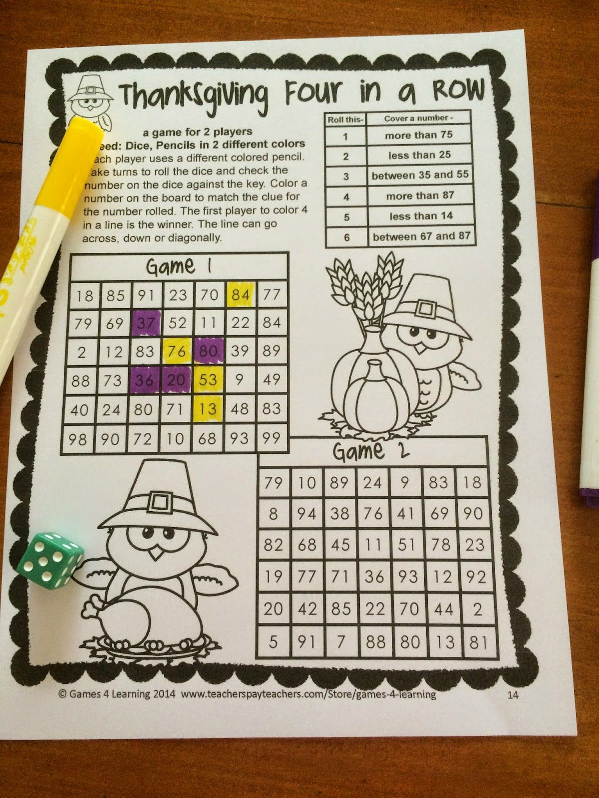 Thanksgiving Math Games First Grade Fun Thanksgiving