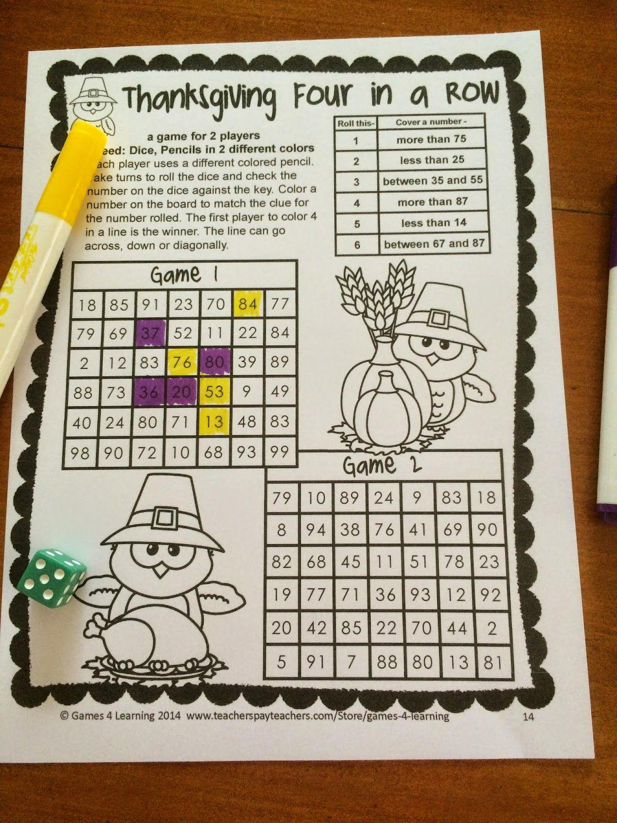 Thanksgiving Math Games First Grade Fun Thanksgiving