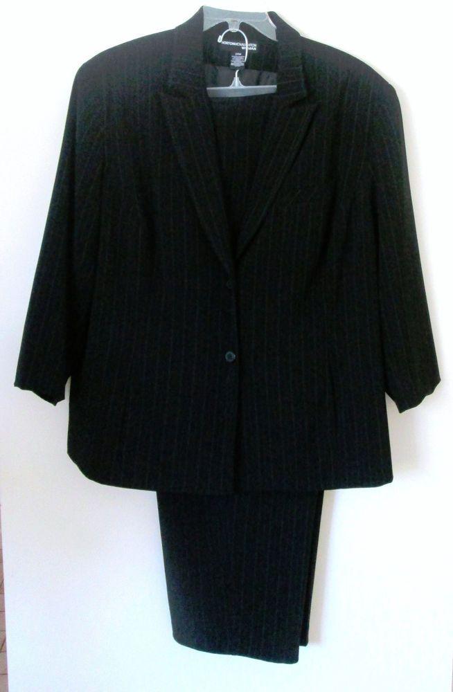 80d159b3be2 Norton McNaughton Woman Size 22 24 Black Pinstripe Suit Separates 3 4  Sleeve  NortonMcNaughton  PantSuit
