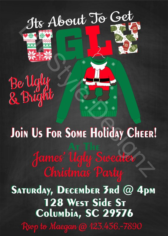 Ugly Sweater Christmas Party - Christmas Party Invitation - Its