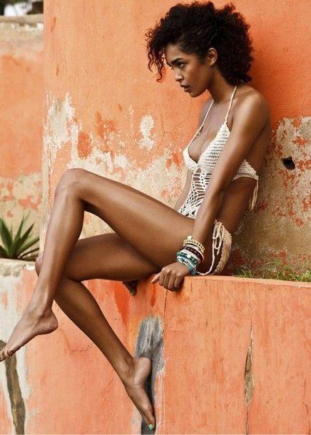 Swimwear Mixed Girl White Swimwear Tricot Curly Hair Knitted Swimsuit Low Necked Crochet Bikini Summer Beauty Black Girls Killin It