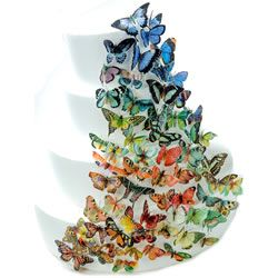 """For cakes and cupdakes: Thirteen 8"""" X 11"""" wafer paper sheets printed with 155 assorted butterfly designs in hues of blue and lavender,orange and pink, green and earth."""