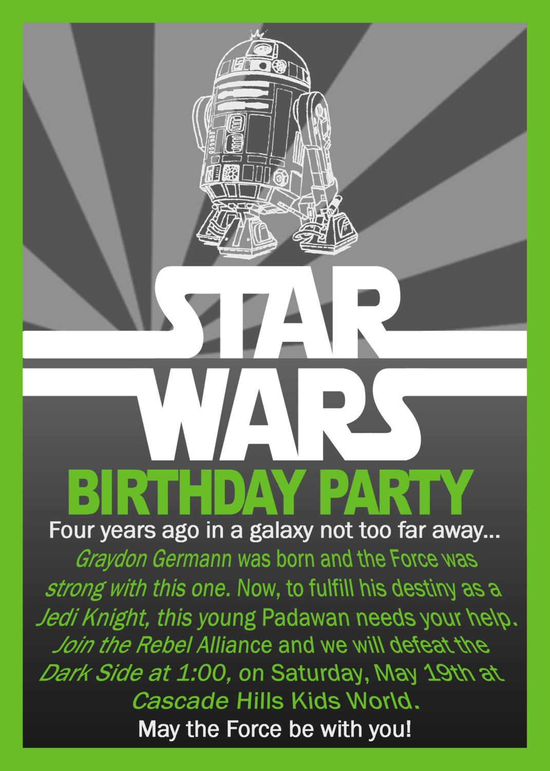 Star Wars Birthday Invitation. $5.5, via Etsy.  Star wars