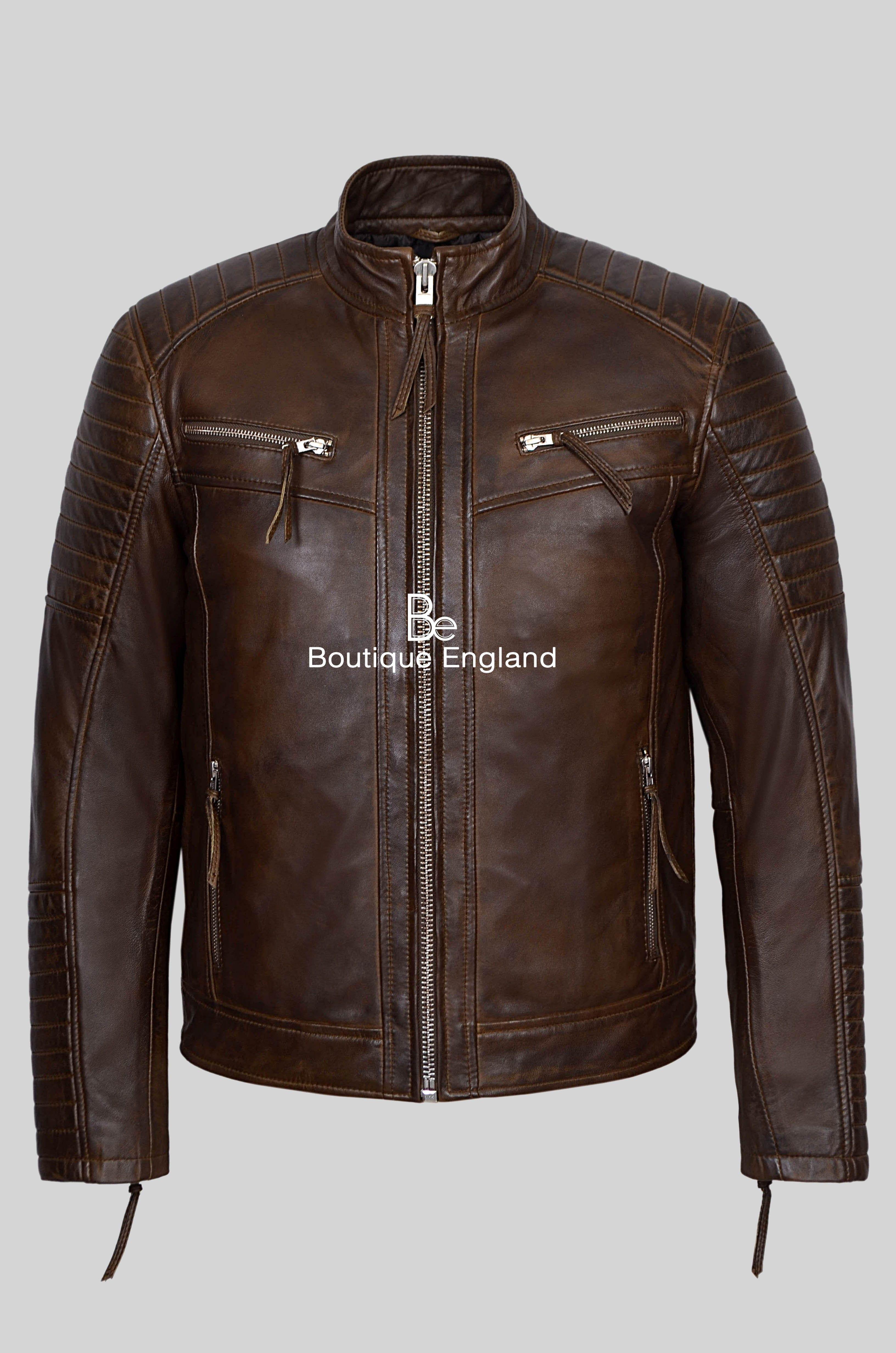 New Men Designer Genuine Lambskin Soft Biker Leather Jacket T1076