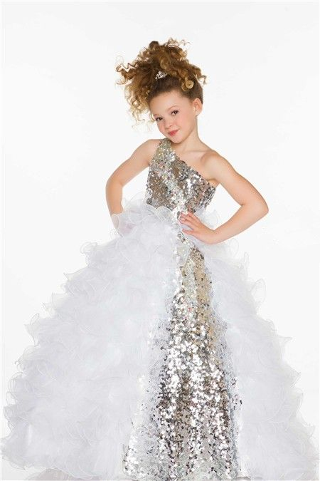 Ball Gown One Shoulder Long Silver Sequin White Organza Ruffle ...