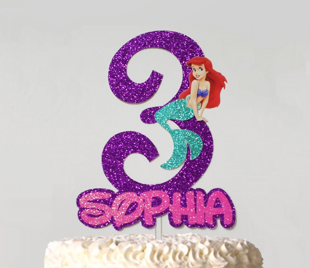 Mermaid glitter cake topper birthday cake top customised number 5 any number