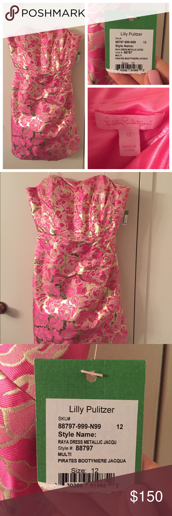 fb9267f8be0 Lilly Pulitzer size 12 Raya dress NWT Metallic pink   gold strapless  jacquard party dress in Pirate s Bootyniere print. Size 12.