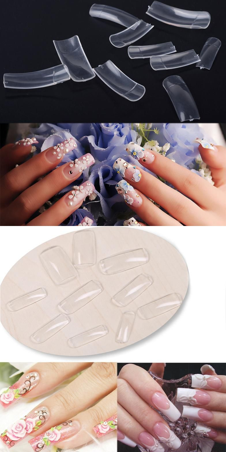 Visit to Buy] Newest 500pcs Nail Art Clear Half Well False Acrylic ...