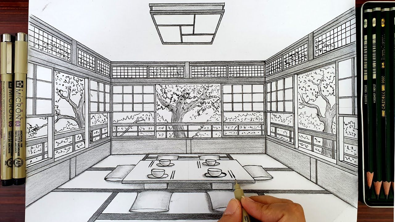 How To Draw A Dining Room In One Point Perspective How To Draw A Room In Perspective How To Dr One Point Perspective Point Perspective Interior Design Sketches
