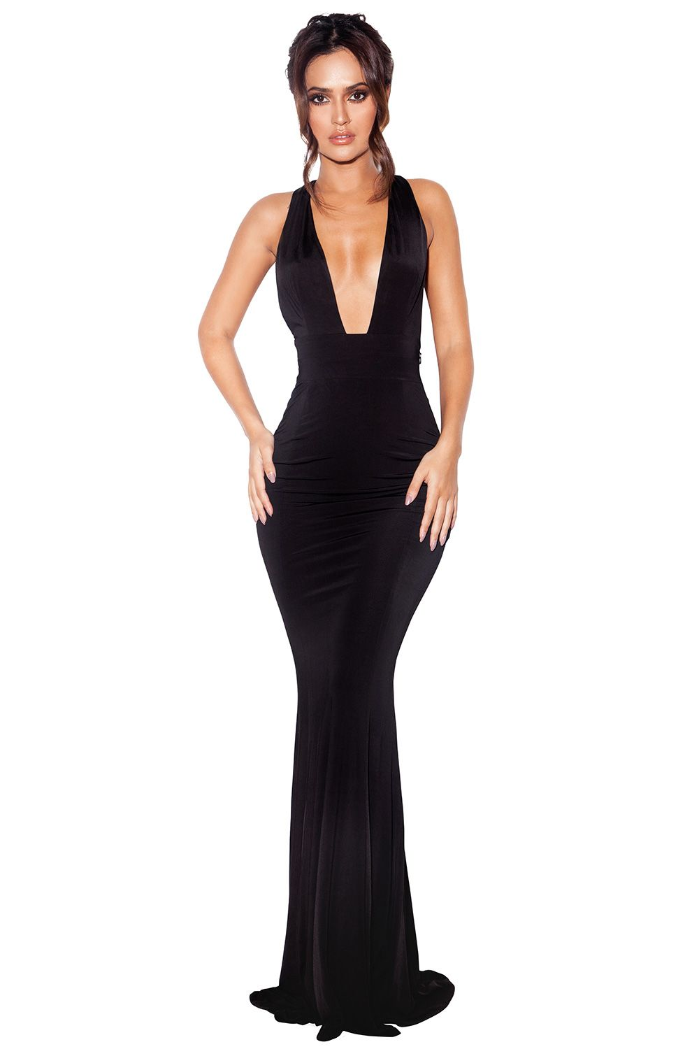 Clothing : Max Dresses : \'Miacova\' Black Silky Jersey Plunge Maxi ...