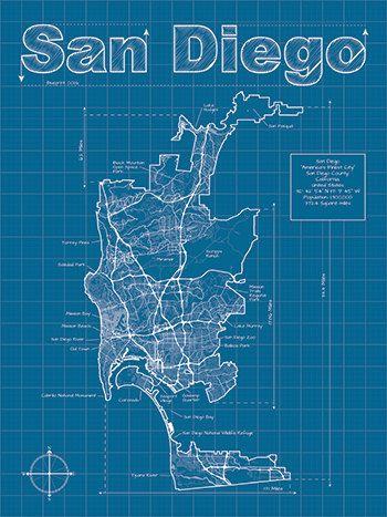 San diego map original artwork san diego blueprint wall art san diego artistic blueprint map 3000 via etsy malvernweather Images