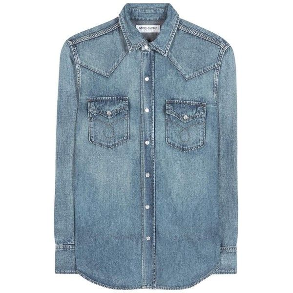 Saint Laurent Denim Shirt ($690) ❤ liked on Polyvore featuring tops, shirts, blue, yves saint laurent, denim top, yves saint laurent shirt, blue shirt and blue top