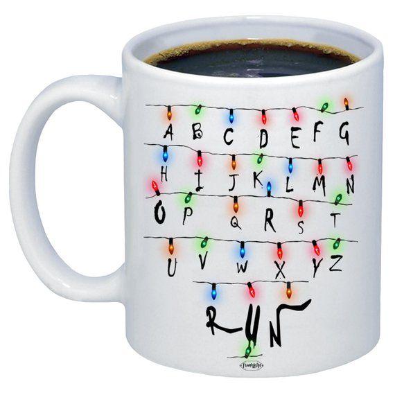 Stranger Things Christmas Lights RUN! Funny Mug Christmas Coffee
