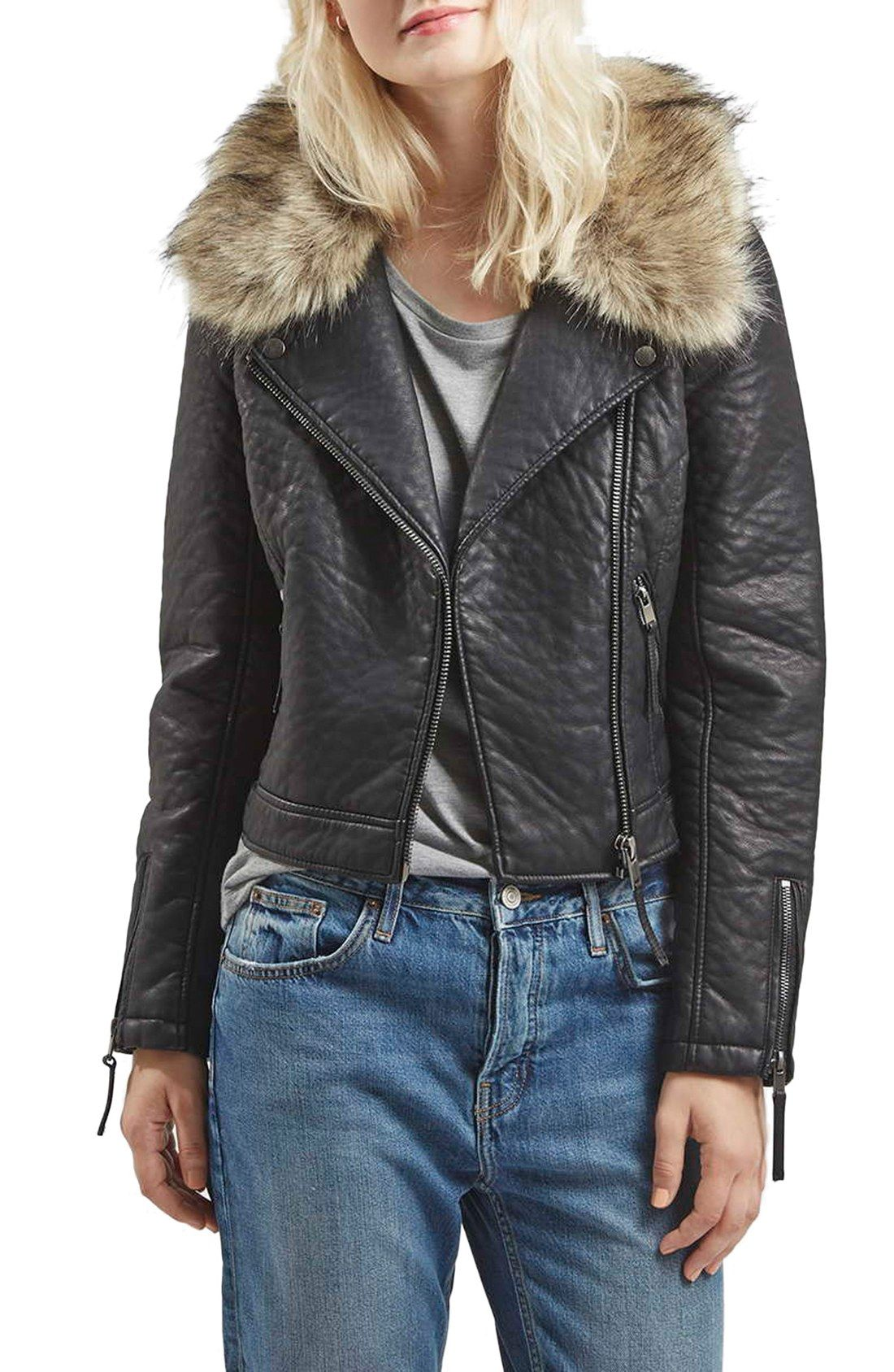 Topshop Faux Leather Moto Jacket with Removable Faux Fur Collar ...