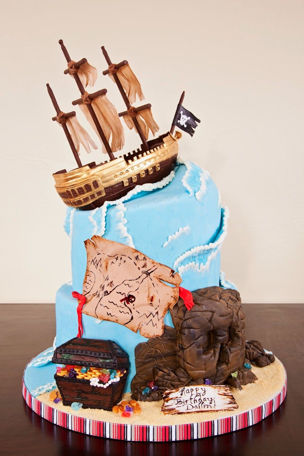 Delectable Cakes Stormy Ocean Pirate Ship Birthday Cake cakes