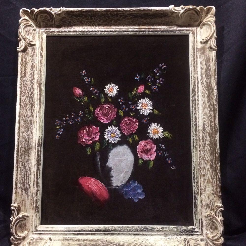 Black Velvet Painting Floral Still Life Vase Flowers Roses Faux Wood ...