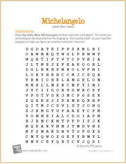 Michelangelo | Word Search Worksheet - http://makingartfun.com/htm/f-maf-printit/michelangelo-word-search-worksheet.htm