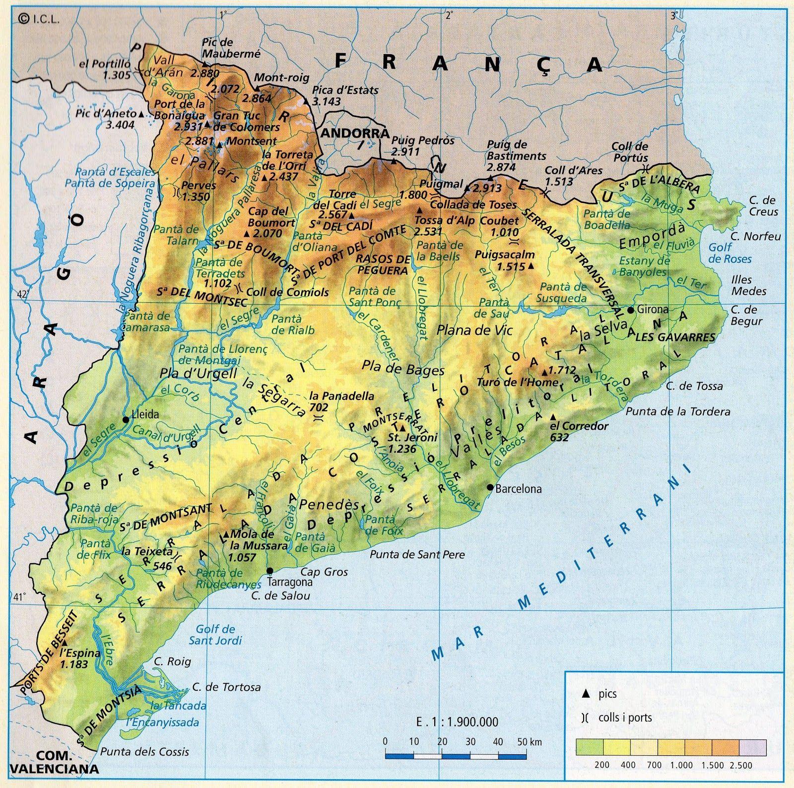 Mapa Físic Catalunya | Mapas, Rius de catalunya, Cartografía