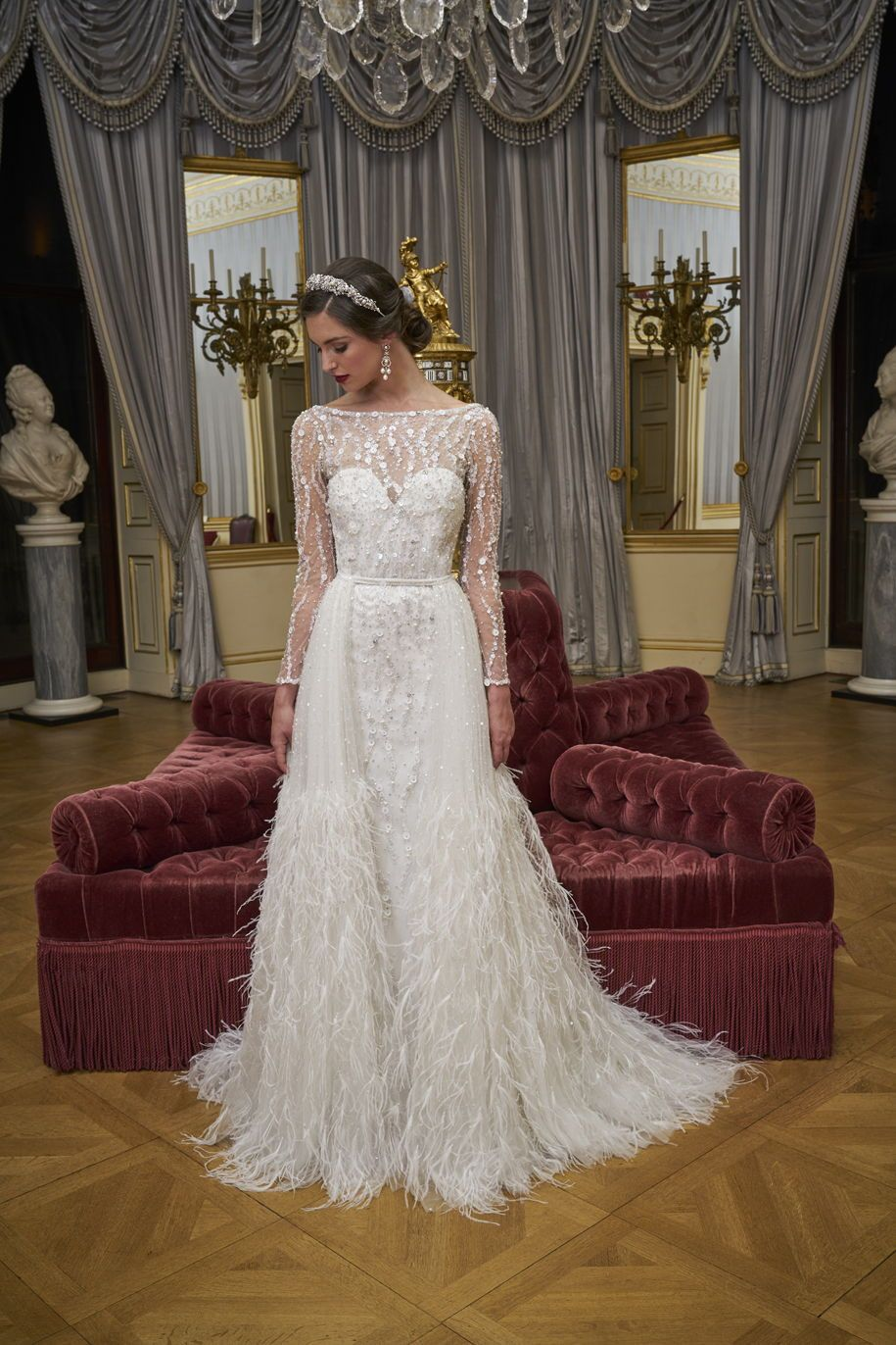 Stunning Beaded Wedding Dress Featuring Long Sleeves And A Slim Skirt With A Detachabl Sparkly Wedding Dress Wedding Dresses Beaded Wedding Dress With Feathers