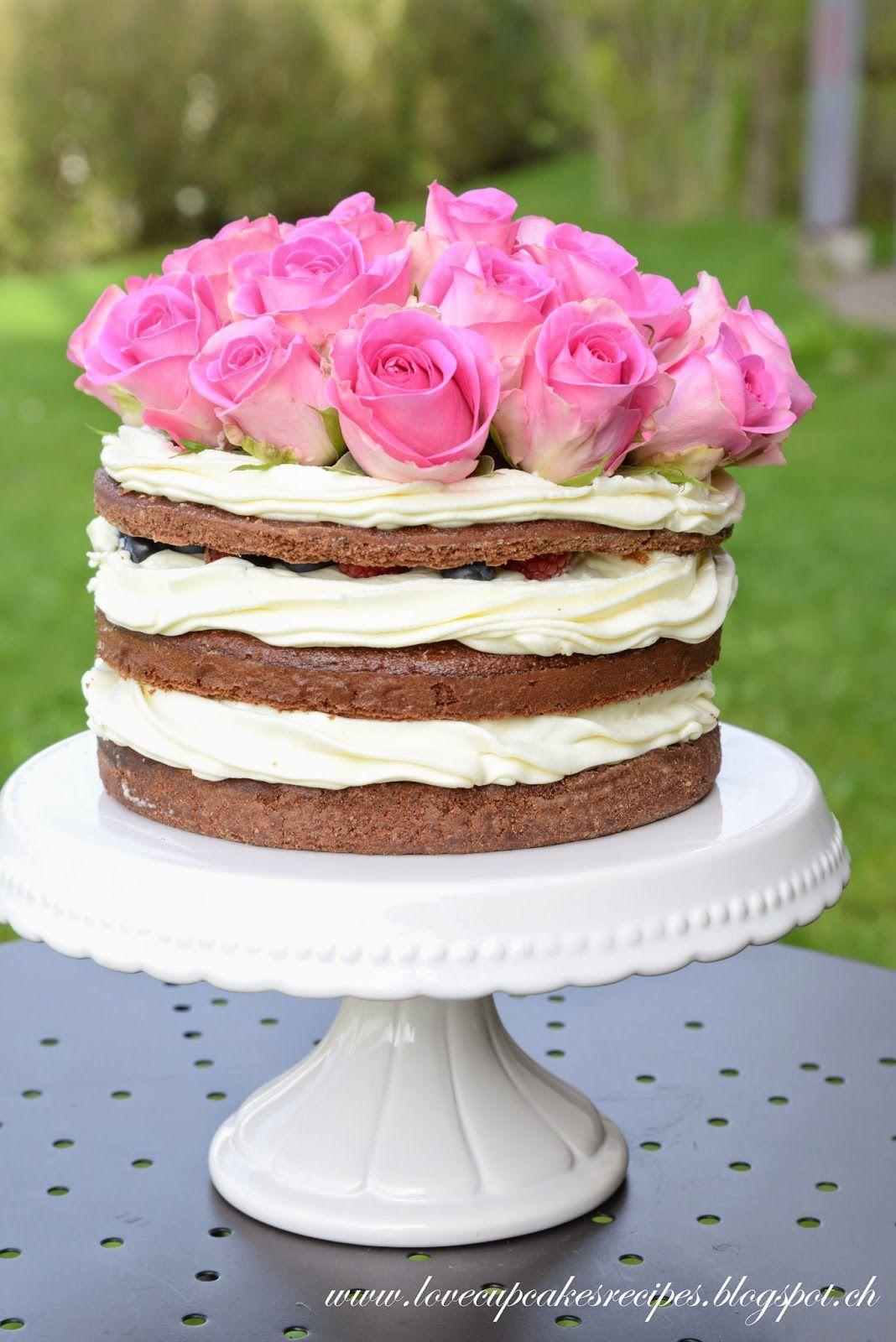 Chocolate naked cake - Romantic Roses Decoration