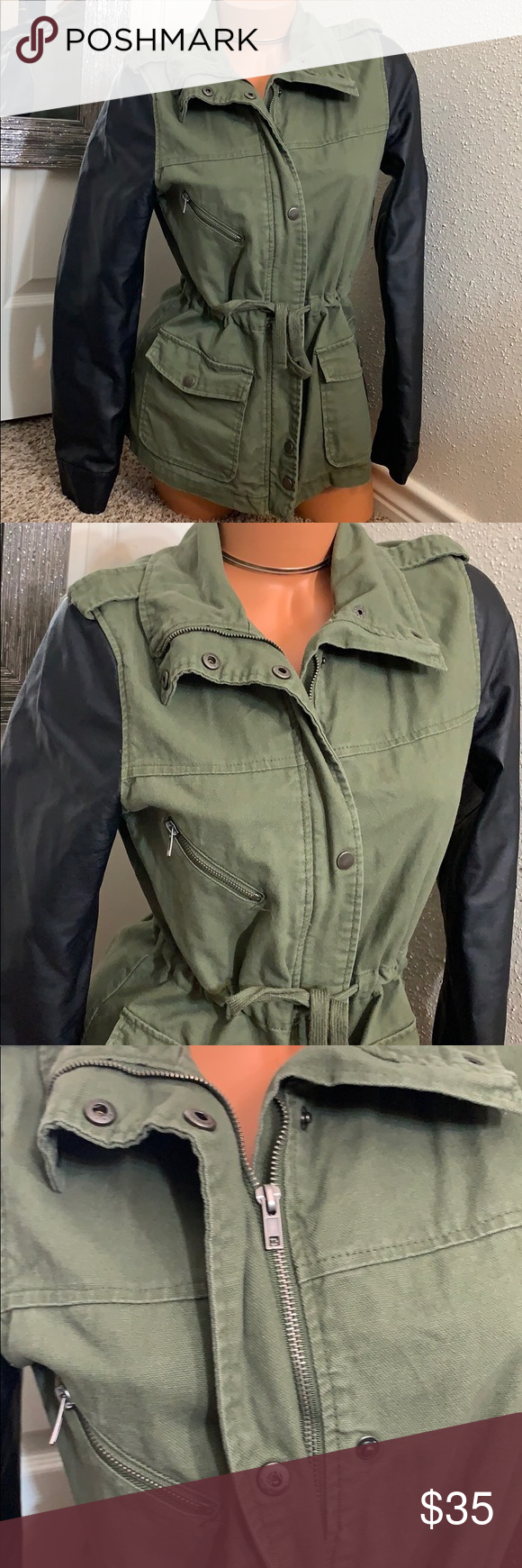 Utility Jacket Faux Leather Army Style Jacket Army Fashion Clothes Design Fashion [ 1740 x 580 Pixel ]