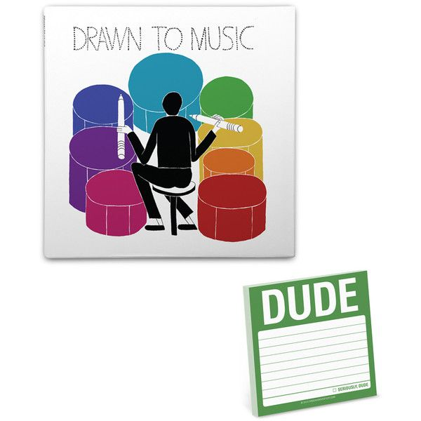KNOCK KNOCK Drawn to the Music Sketchbook & 'Dude' Sticky Notes ($15) ❤ liked on Polyvore featuring home, home decor and stationery