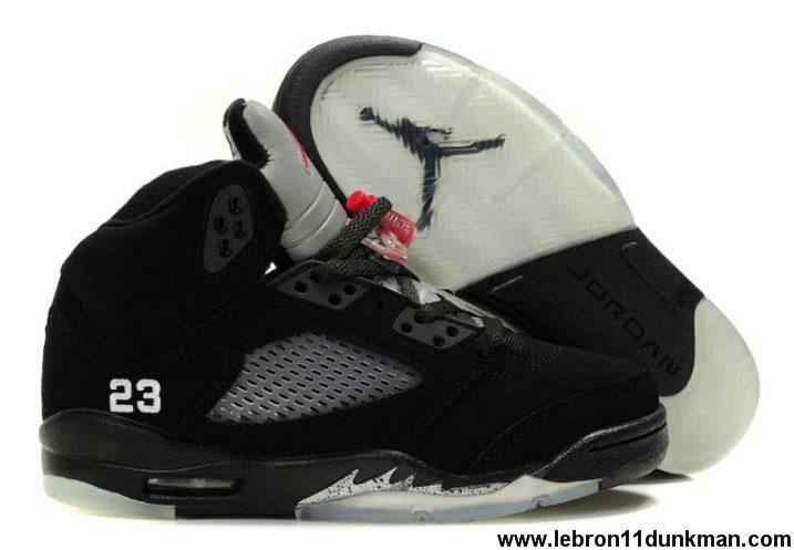 detailed look 166ab 78a41 Fashion Women Air Jordans 5 Retro Black Varsity Red-Metallic Silver Fashion  Shoes Shop