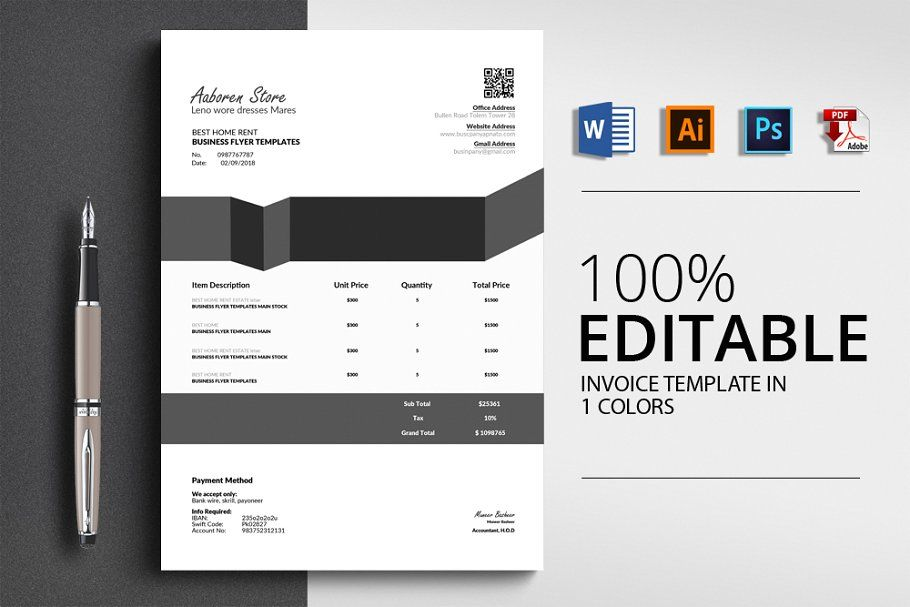 Word Invoice Templates 4 Formats Invoice Template Templates Stationery Templates