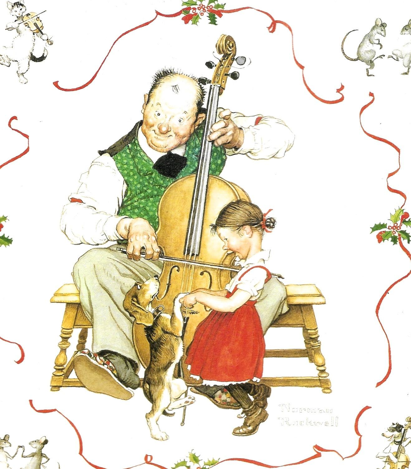 Large Norman Rockwell print CHRISTMAS DANCE Girl Dog Cat Mice Fiddle ...