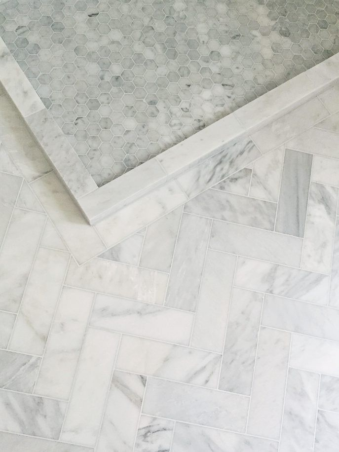 Herringbone And Hexagon Marble Tile Floor Bathroom Flooring Bathroom Floor Tiles Marble Tile Bathroom