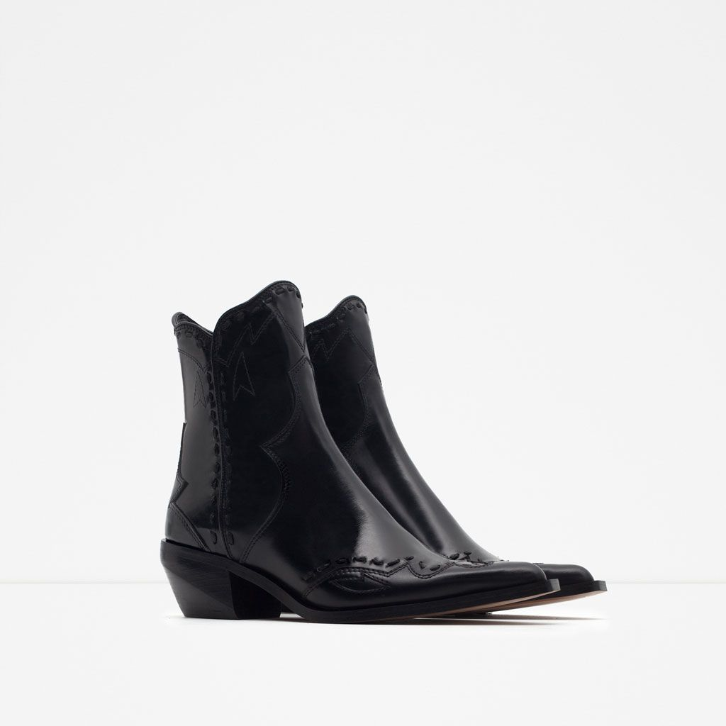 ff10df84aa4 Flat Leather Cowboy Boot // Zara | Booties + Boots in 2019 | Cowboy ...