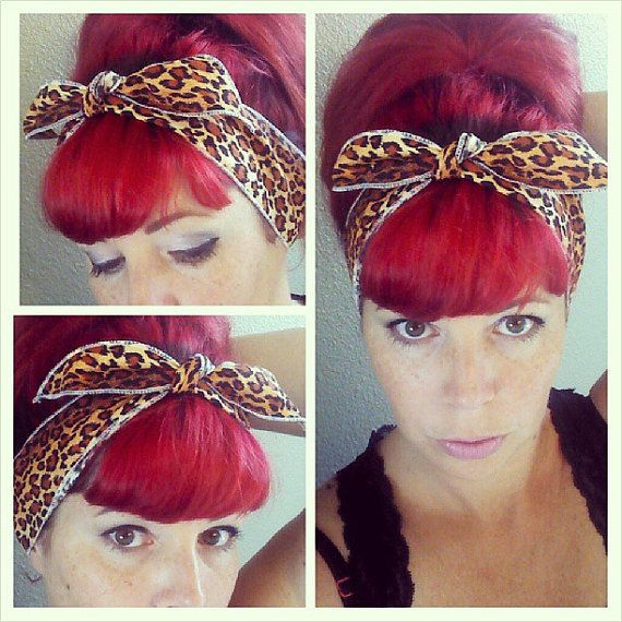 RED LEOPARD VTG 50s STYLE PIN UP HEAD SCARF ROCKABILLY