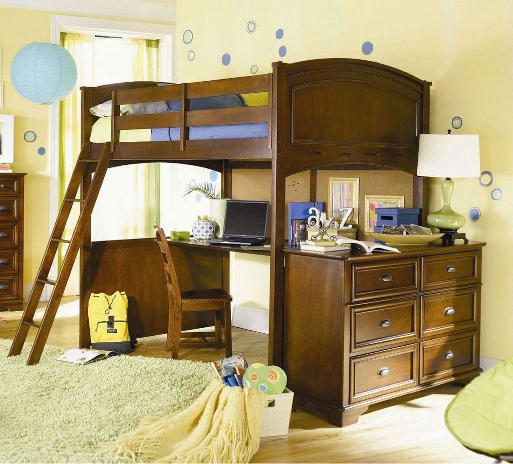 Wooden loft bed with desk  remykalinpracticalloftbedwithdeskfor