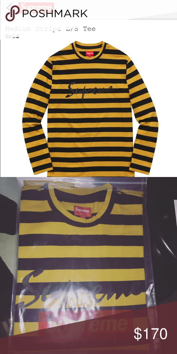 9608af110c5a Supreme long sleeve striped shirt. Brand new , never worn yellow / black  ACCEPTING OFFERS Supreme Shirts Tees - Long Sleeve