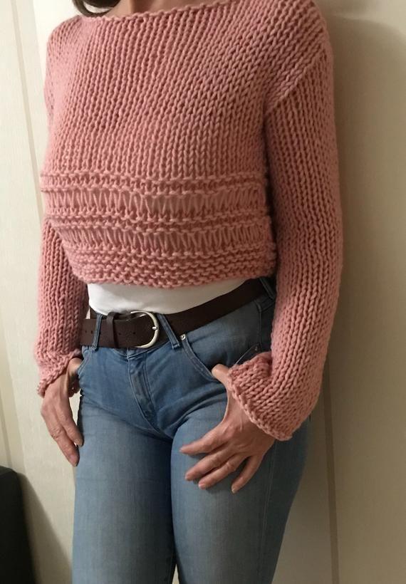 Knit sweater , Knit chunky pullower, Cropped wool sweater