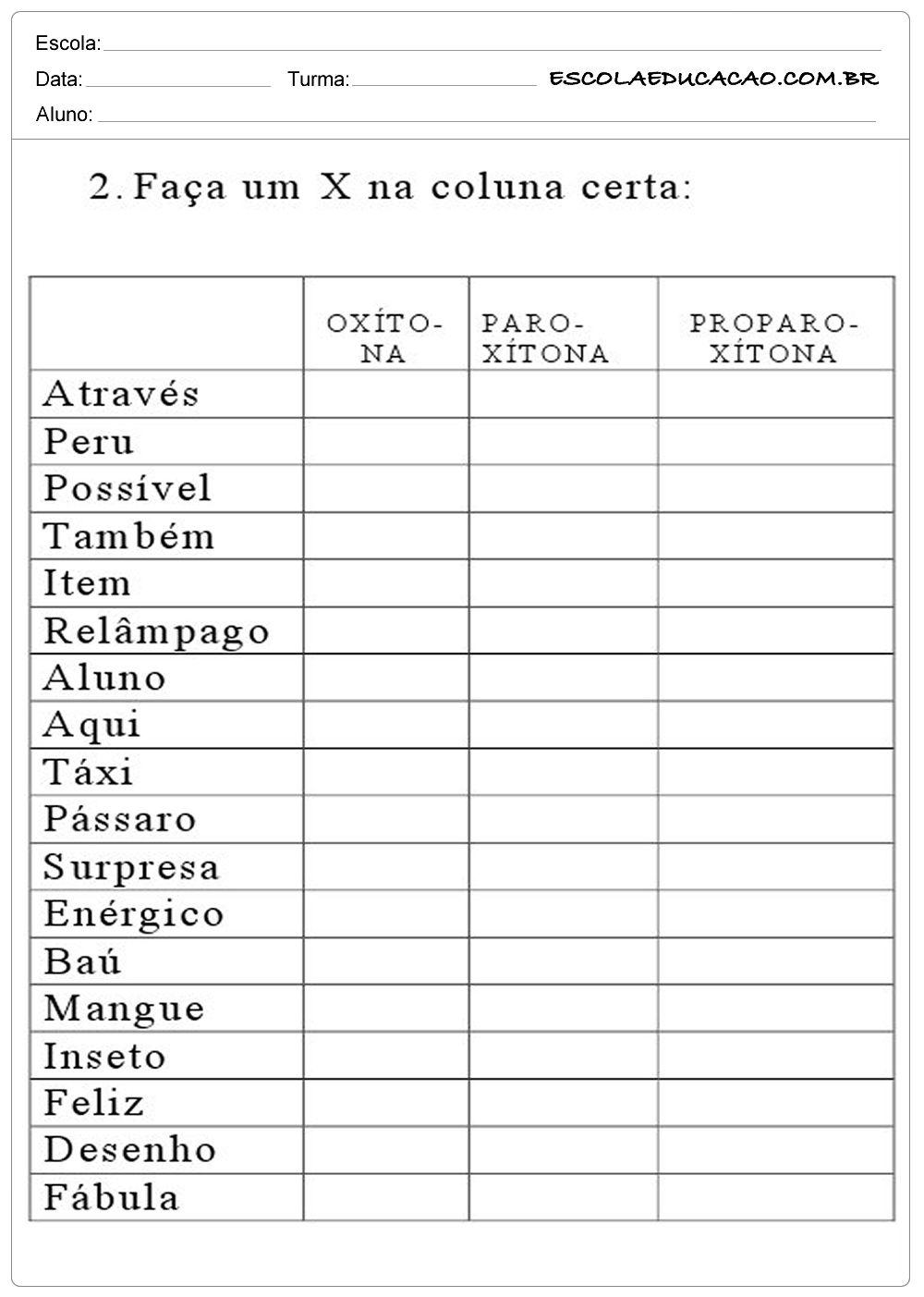 Atividades Com Silabas Tonica Classificacao E Posicao Palavras