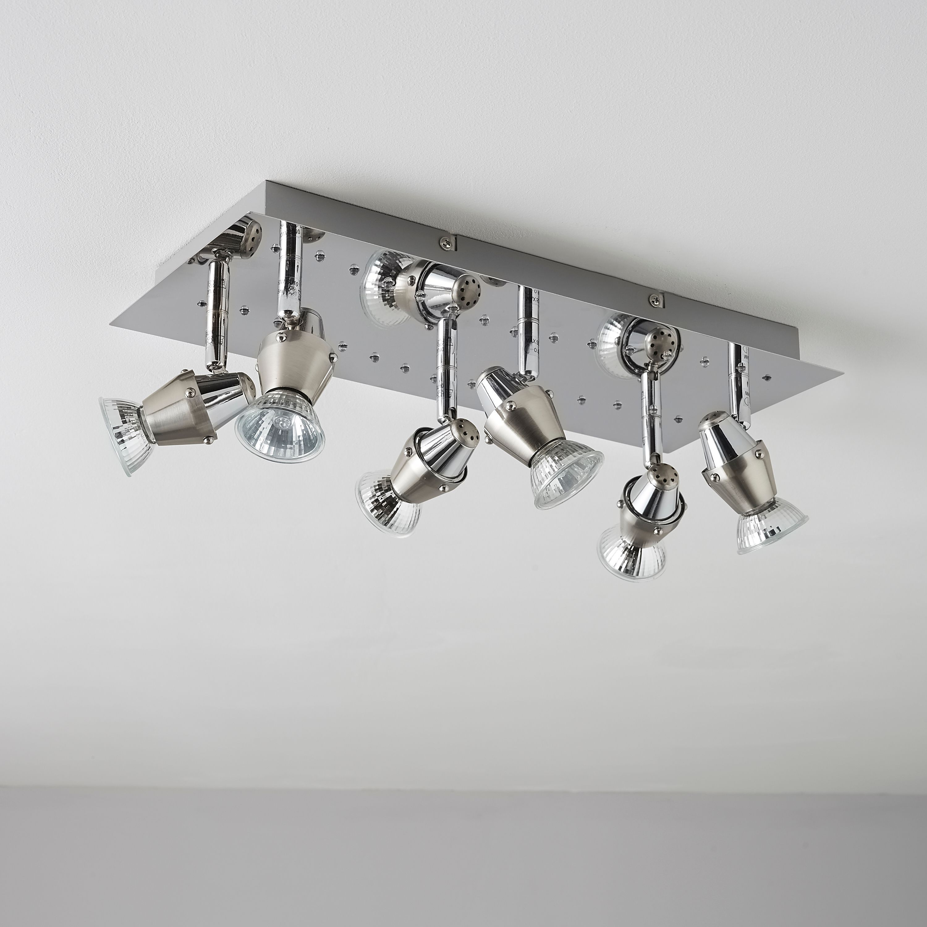 Kitchen Light Fittings Homebase: Tornado Chrome Effect 6 Lamp Spotlight Plate