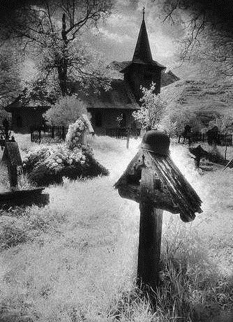 Simon Marsden~Graveyard, Village in The Carpathian Mountains, Romania.