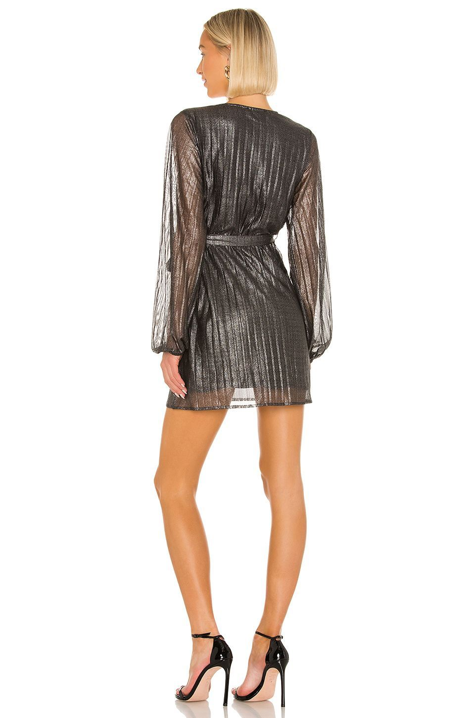 Its Party Time Faux Wrap Dress in Black ShineSanctuary Its Party Time Faux Wrap Dress in Black Shine