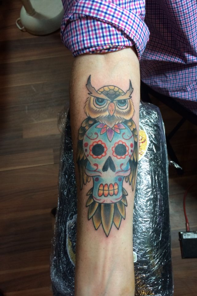 e9035c424 Owl, sugar skull tattoo by Elijah Blackwell at Sink or Swim Tattoo in  Charlotte, NC.
