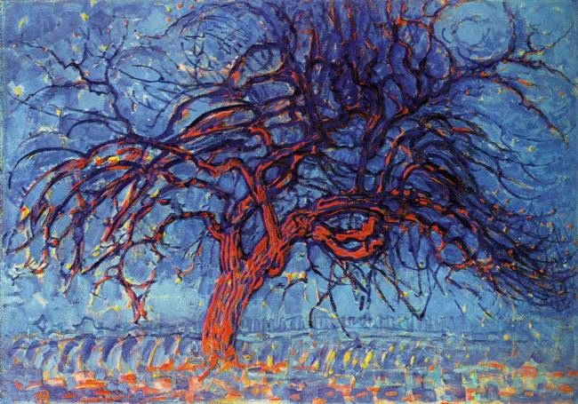 """The Red Tree"" in 1908-10 by Piet Mondrian. Oil on canvas."
