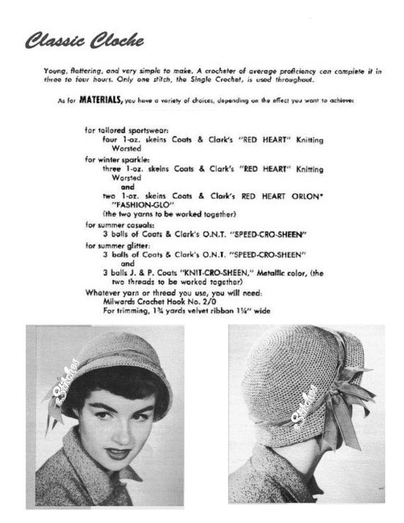 PDF Vintage Classic Cloche Hat with Brim Beginner - Crochet pattern ...