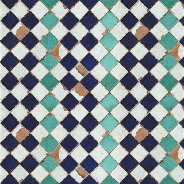 Papier Peint Carrelage Bleu Et Blanc Chess Papier Peint Au Fil Des Couleurs Papier
