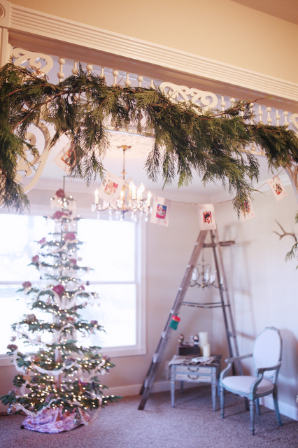 Christmas decor - like the garland and hanging things - could do near back entry
