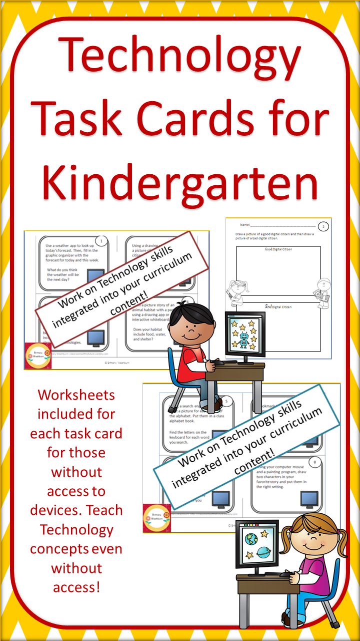 Worksheets Computer Technology Worksheets technology task cards for primary students worksheets kindergarten perfect workstations content integrated will