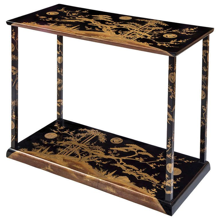 DR    A Rare And Unusual Japanese Black And Gold Lacquer Console / Table At