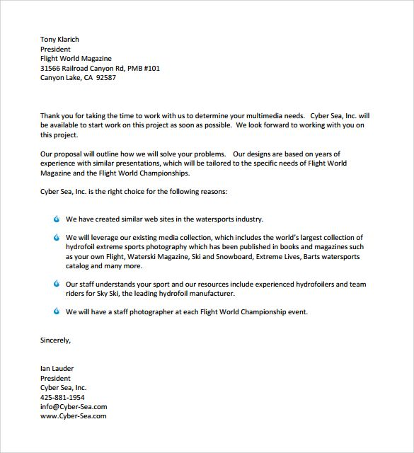 standard business letter formats samples examples amp format - Bid Proposal Examples